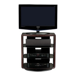 BDI - BDI Valera Single Wide 4 Shelf Swivel TV Stand in Espresso Oak - BDI - TV Stands - 9721 ES - The Valera collection of open TV stands beautifully frames a home theater system and provides a semi-enclosed appearance. The center tempered grey tinted glass shelf(s) is adjustable and the back panel features integrated wire management to keep cables under control. This is a four-shelf stand perfect for use in the bedroom or anywhere the TV needs to be a little taller. The integrated swivel base has three adjustable settings - rotating 360 degree, swiveling 30 degree for corners or secured in place.