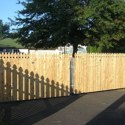 """4' Cedar French Gothic Double Gate on Steel Frame - This Cedar fence comes with a decorative French Gothic top and stands at 4' tall. The boards on this decorative fence are 1"""" X 4""""."""