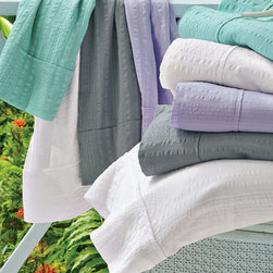 Seersucker Sheet Set - Sewn of luxuriously soft, lightweight cotton, the look is relaxed, airy and easy as can be - perfect for the laid-back spirit of the season.