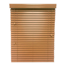 "Chicology Blaze Faux Wood Blind 23X64, Blaze, 43x64 - From the kitchen to the study, every room in your home gets an instant style uplift with the addition of distinguished faux wood blinds. Chicology's faux wood blinds are constructed of durable PVC composite, and features generously sized 2"" slats. Our faux wood blinds come upgraded with a valance and a trapezoid bottom as well as accentuated slats that give the look of real wood. All brackets / hardware included allow for mounting inside or outside your window frame with ease."