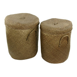 Oriental Furniture - Hand Plaited Rush Grass Laundry Hamper ( Set of 2 ) - Set of two laundry hampers with convenient lids and carrying handles. Keep the larger one in the laundry room and use the smaller one in the kids room or bathroom. The natural color of the woven rush grass fits easily with any decor.