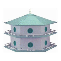 Aluminum Purple Martin House - What We Like About the Aluminum Purple Martin House This is luxury living for the birds! The Aluminum Purple Martin House is crafted of tough and long-lasting lightweight aluminum. This 12-room house weighs only 7 1/2 lbs. The apartment floors snap-out for easy cleaning. The hexagonal design is both functional and artistically attractive. As the colony grows so can the house; just add a unit. Choose a style: with or without a mounting pole.