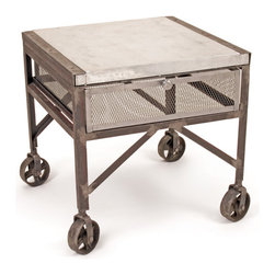 Go Home - Steel Tailors Table - Tailors Table is a brilliant idea and ingenious design.Amazingly crafted with galvanized steel top ,steel body and has hand finish.It has shelving to hold your evening��s wine bottles.