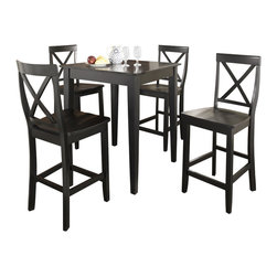 Crosley Furniture - 5 Pc Pub Dining Set w Tapered Leg and X-Back - Includes Pub Table and 4 Stools in Black. Solid Hardwood & Veneer Construction Table . Solid Hardwood Stools. Hand Rubbed, Multi-Step Finish. Solid Hardwood Tapered Legs. Shaped Back for Comfort. Table Dimensions: 36 in. H x 32 in. W x 32 in. D. Stool Dimensions: 40 in. H x 18.5 in. W x 22.5 in. DConstucted of solid hardwood and wood veneers, the 5 piece Pub / High Dining set is built to last. Whether you are looking for dining for four, or just a great addition to the basement or bar area, this set is sure to add a touch of style to any area of your home.