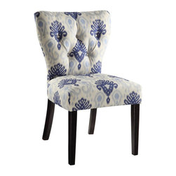 Avenue Six - Avenue Six Andrew Chair in Medallion Ikat Blue - Avenue Six - Dining Chairs - ANDM13 - Covered in high performance, easy care fabric, these chairs are designed to offer style and comfort to you and your family. Attractive solid wood legs, unique back design and durable construction make this chair truly one of its kind. Perfect for any room, these chairs get your guests talking for months.