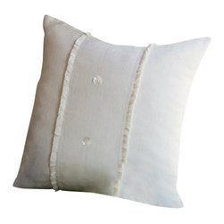 Taylor Linens - Hampton Cream Porch Pillow - You'll adore the linen voile adorning this divine porch pillow. Outfitted with mother-of-pearl buttons and cheeky ruffled flourishes, this oversize pillow comes complete with a feather and down insert for long-lasting comfort.