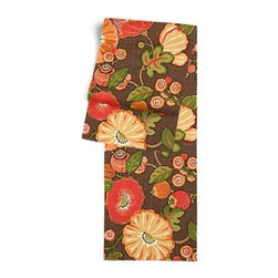 Red & Orange Modern Floral Custom Table Runner - Get ready to dine in style with your new Simple Table Runner. With clean rolled edges and hundreds of fabrics to choose from, it's the perfect centerpiece to the well set table. We love it in this large playful floral in bright reds, oranges and browns. Feel the poppy love with this modern print.