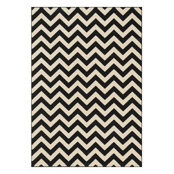 Loloi Rugs - Loloi Rugs Shelton Collection Chevron Rug, Black / Ivory - Power-loomed in Turkey of durable polypropylene, Shelton's vivid, graphic designs spotlight�dramatic zigzag chevrons, elegant ironwork and Moroccan tile motifs in a palette that is�pleasing for both him and her. Zen-like, earthy hues of rich black, brick, brown, ivory, misty�blue and camel set a surprisingly soothing tone that can help add style to your home and�order to your day.�