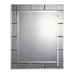 Uttermost - Makura Beveled Glass Rectangular Mirror - This mirror features a generous, 1 1/4 inch beveled center mirror accented by numerous beveled mirrors creating the mirror's frame.