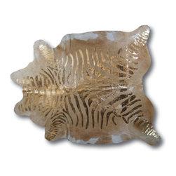 "Kaymanta - Gold Zebra | Animal Print Cowhide Leather Rug - Size: L 72"" x 84"" app"