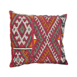Moroccan Berber Pillow - This is a Hand-woven pillow by the Zemmour Tribe in the Middle Atlas Mountains of Morocco, with elaborate diamond pattern, abstract designs and tattoo symbols which are belived to have meditative properties.