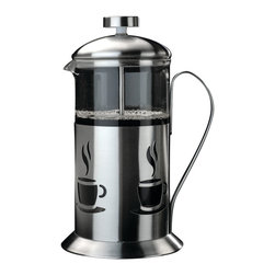 Berghoff - Berghoff Cook & Co. French Press 2.5-Cup - French presses, commonly referred to as coffee plungers create a smooth, pure coffee flavor. For best results use coarse ground coffee, just pour and serve. Makes 2 1/2 cups. Constructed of stainless steel with a decorative finish and glass carafe.