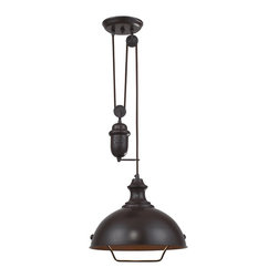 Elk Lighting - Elk Lighting 65071-1 Oiled Bronze Farmhouse Single-Light Bowl Pendant - Inspired By Antique Lighting, This Series Recalls Turn-Of The Century Design Where Simple Aesthetics And Mechanical Function Combined To Create Charming, Yet Versatile Fixtures. These Classic Pull-Downs Have A Decorative Weight That Counterbalances The Fixture For Easy Height Adjustability Anytime by Simply Pulling Down Or Lifting Up On The Fixture.