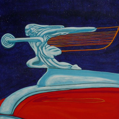 Automotive Art Deco, Original, Painting - A 20X16 inch, acrylics on canvas paper painting of a fine example of the art deco style so commonly found as hood ornamentation on classic cars.