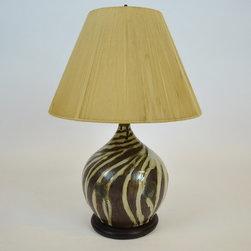 Ceramic African Zebra Lamp w/ Threaded Lamp Shade - Dimensions:H 22''  × D 15''