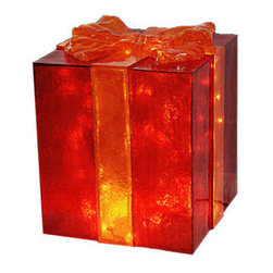 Illuminated Christmas Gift Boxes - The Barcana 57-1067-01 lighted Christmas gift box decoration features a red, chip resistant fiberglass construction. This Christmas gift box boasts a gold ribbon and a gold bow on top for a heartwarming display. It is pre-lit with clear incandescent Christmas mini lights and is suitable for use indoors or outdoors. Barcana Christmas trees and decorations are meant to last over a lifetime. With proper storage, this commercial quality decoration will be passed down for generations.