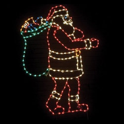 83 in. Outdoor LED Santa with Bag Lighted Display - 250 Bulbs - About Brite IdeasEstablished in Omaha, Neb., in 1990, Brite Ideas Decorating, Inc., has become a holiday lighting industry leader, providing customers across the United States with durable, cutting edge lighting displays for both residential and commercial applications.Featuring a full line of innovative LED products and uniquely designed displays, Brite Ideas appeals to tradition, modern, simple, and even ornate tastes. It is their mission to promote excellence in the holiday lighting industry. With that in mind, Brite Ideas products go above and beyond the standard to create the best holiday atmosphere for you.