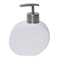 Stoneware Soap Dispenser White - This elegant soap dispenser for bathrooms is in stoneware with simple lines and contemporary curves to add a modern look and feel to your decor. This soap dispenser is a lovely accent for any bathroom and its shape is circular with a length of 4.21-Inch, a width of 1.97-Inch and a height of 5.51-Inch. The top has a chrome-plated opening to unscrew for refilling with soap or lotion. Wipe clean with soapy water. Color white. Accessorize your bathroom countertop in a trendy style with this charming soap dispenser! Complete your decoration with other products of the same collection. Imported.