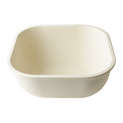 Bambooware - 48 Oz 8.1 Inch Reusable Square Malibu Bamboo Bowls with Edge 6 Ct - 0