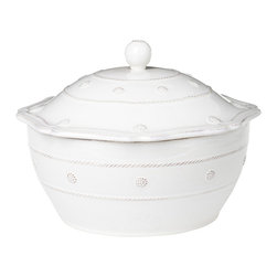 Berry and Thread Covered Casserole - Large - Whitewash - Tone-on-tone motifs drawn from baker's twine and seasonal berries mark the Berry and Thread stoneware collection, including this Large Covered Casserole with its whimsical lid inspired by antique ginger-pot designs. The three-dimensional ceramic adornment, like the body of the chip-resistant baker, is fully glazed in a supple, blending Whitewash for a glossy pure white finish.