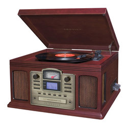 Crosley - Performer CD Recorder- Cherry - In the music industry a Director has many roles in creating the perfect musical masterpiece. The Crosley Director CD Recorder allows you to be your own producer, or at least a preserver. Capturing your favorite songs from your private collection has never been easier thanks to Crosley. With the simple touch of a button, you can effortlessly record all of those 33's, 45's, 78's and even cassettes directly to CD. If the music doesn't take you back in time, the traditional Crosley styled cabinet will rock you back to the good old days. The sleek design houses a variety of technology complete with a 3-speed turntable, CD recorder, cassette deck, portable audio ready feature, AM/FM radio with a nostalgic analog tuner and a programmable CD player. With this much style and functionality the Director is a must have for any home.
