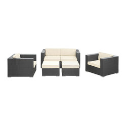 Malibu Outdoor Wicker Patio 5 Piece Sofa Set In Espresso with White Cushions