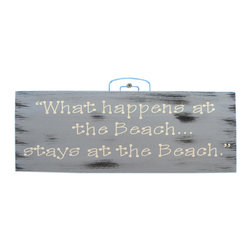 Handcrafted Nautical Decor - Wooden Rustic What Happens at the Beach Stays at the Beach Sign 12'' - Our   Wooden Rustic 'What Happens At The Beach Stays At The Beach Sign 12'' is the perfect choice to display   your affinity for decorating a beach house. Whether placing this sign in a beach   kitchen, using it as a coastal decorating idea, or hanging it up as part of   your beach bedroom decor, one thing is for   certain: you are sure to inject the beach lifestyle into your humble   abode.------    Easily mountable to hang outside or inside--    Solid wooden plank--    Handcrafted and highly detailed--