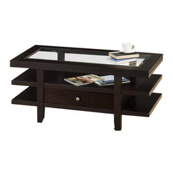 Jofran - Jofran Marlon Glass Top Rectangular Cocktail Table With Casters in Wenge Finish - Jofran - Coffee Tables - 0911 - With a striking design, you can be sure that the Marlon Collection from Jofran will be a contemporary eye catcher in your living room. It features storage drawers and open shelf space for additional storage or display. Constructed of Oak solids and ash veneers in a wonderful rich wenge finish this collection is made with durability and style in mind.