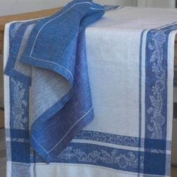 """Origin Crafts - Provence blue linen table runner 20x59 - Provence Blue Linen Table Runner 20x59 100% linen. We have a wide collection of 100% linen table runners to suit your decor style, ranging from solid to jacquard,casual to luxurious and contemporary to French country chic. They can be placed along the table or across it, depending on the look that you want to achieve. Beautiful hemstitched edges highlight the sophistication of a linen runner and make it an attractive element in any interior. Dimensions (in): 20"""" x 59"""" By Linen Way - Linen Way is a family-owned wholesale business that sells the finest home textiles, handpicked from around the world. Linen Way offers inspirational products for your life and home in traditional and modern designs. Estimated Delivery Time 1-2 Weeks. Please be aware that some products are handmade and unique therefore there may be slight variations in each individual product."""
