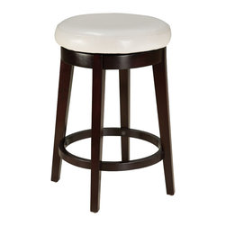 Standard Furniture - Standard Furniture Smart Stools Round Stool w/ White Leatherette Seat - 24 Inch - Smart stools, like their name says, are smart additions to any kitchen or casual dining space offering compact and versatile seating options.