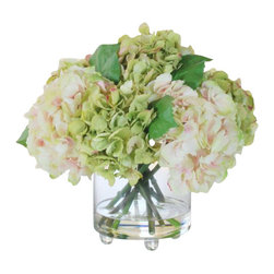 Winward Designs - Hydrangea In Glass Vase Flower Arrangement - A simple bouquet of elegant hydrangeas is a timeless addition to any room. The 14-1/2-inch display is perfect for a bathroom vanity or even your kitchen table. The blooms will bring color and life to your home all year long — no maintenance needed!