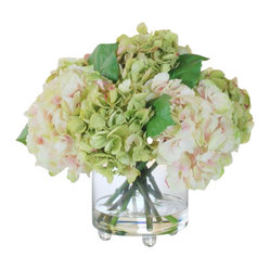 Hydrangea In Glass Vase Flower Arrangement