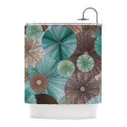"""Kess InHouse - Heidi Jennings """"Atlantis"""" Teal Brown Shower Curtain - Finally waterproof artwork for the bathroom, otherwise known as our limited edition Kess InHouse shower curtain. This shower curtain is so artistic and inventive, you'd better get used to dropping the soap. We're so lucky to have so many wonderful artists that you'll probably want to order more than one and switch them every season. You're sure to impress your guests with your bathroom gallery in addition to your loveable shower singing."""