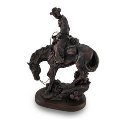 Bronze Finish Western Cowboy On Horse Statue - With all the fascination of fantasy lore, this rider of the Wild West has saddled up to take his rightful place in western folklore. This cold cast resin statue captures every essence of the rugged cowboys, from the conchos on his chaps to his muscular horse. Beautifully rendered in a faux antique bronze finish, this stunning 11 1/8 inch high (28 cm), 7 3/4 inch long (20 cm), 4 1/4 inch wide (11 cm) statue pays tribute to the larger than life characters of the Old West. The bottom is lined with a velvet like material to help protect delicate surfaces from scratches. This statue would make a wonderful gift for any fans of the Old West!