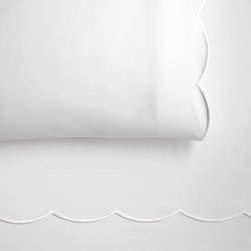 Peacock Alley - Overture Pillowcase, White, King - Having an edge has never been so delicately stylish! Here, elegant embroidery on 300 thread count, 100 percent Egyptian cotton sateen brings a subtle accent to your traditional bedroom décor.