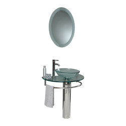 """Fresca - Fresca Attrazione Glass Vanity w/ Frosted Edge Mirror - Dimensions of vanity:  28.75""""W x 18.25""""D x 34.25""""H. Dimensions of mirror:  24""""W x 31.5""""H. Materials:  Tempered glass countertop/vessel sink, stainless steel. Single hole vessel faucet mount. P-trap, faucet, pop-up drain and installation hardware included. This simply constructed jewel tone chrome stand and gently sloping tall clear glass basin are ideal for simple living with a touch of class and modern charm.  Versatile for any decor.  Quietly interesting and chic without being disruptive."""