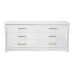 "Z Gallerie - York 6 Drawer Dresser - The design of our York Collection harmonizes a distinctive mix of materials, creating a highly stylized design influenced by Greek Key fretwork. Thanks to the pairings of heavy mouldings and sleek forms, balance against silky white lacquer€""modern glamour progressively merges with timeless sophistication.  Each piece comes with a complete set of both gold and silver finished drawer pulls to suit a variety of décor settings."