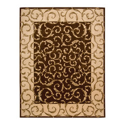 "Nourison - Nourison Versailles Palace VP43 3'6"" x 5'6"" Chocolate Area Rug 42898 - A marvelous tapestry effect is presented in this lush, lovely rug with its lively curling leaf design. The unfurling leaves spread across center ground and border, giving a modern vitality to this classic Aubusson motif. Deep chocolate tones, bordered in mocha, are further enriched by dimensional hand-carving."