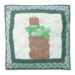 Patch Quilts - Hoppy Days Toss Pillow 16 x 16 Inch - Decorative applique Quilted Pillow Bed and Home Ensembles and Bedding items from Patch Magic   - Machine washable  - Line or Flat dry only Patch Quilts - TPHOPP