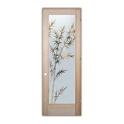 "Sans Soucie Art Glass (door frame material T.M. Cobb) - Interior Glass Door Sans Soucie Art Glass Bamboo Forest Negative - Sans Soucie Art Glass Interior Door with Sandblast Etched Glass Design. GET THE PRIVACY YOU NEED WITHOUT BLOCKING LIGHT, thru beautiful works of etched glass art by Sans Soucie!  THIS GLASS IS SEMI-PRIVATE.  (Photo is View from OUTside the room.)  Door material will be unfinished, ready for paint or stain.  Satin Nickel Hinges. Available in other wood species, hinge finishes and sizes!  As book door or prehung, or even glass only!  1/8"" thick Tempered Safety Glass.  Cleaning is the same as regular clear glass. Use glass cleaner and a soft cloth."