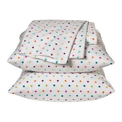 Xhilaration Dot Sheet Set, Multicolor - These multicolored polka dots are perfect for a teenager's room, and they would work well when used with a solid comforter or duvet.