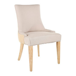 Safavieh - Safavieh Becca Dining Chair X-P2054RCM - The Becca chair features a dressing elegance without being stuffy, so its a perfect companion for country homes, city apartments or formal manors. The two-toned  Becca, with beige linen on the interior and jute on the exterior, features a high back, slope