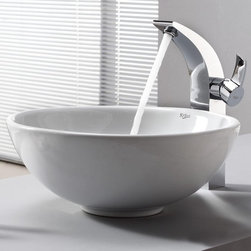 Kraus - Kraus White Round Ceramic Sink and Illusio Faucet - Add a touch of elegance to your bathroom with a ceramic sink combo from Kraus