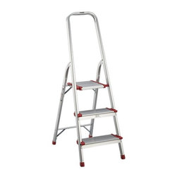 Polder® 3-Step Ladder - Modern folding step ladder is crafted of extruded aluminum with extra-high rail and non-skid steps and feet. Sturdy yet lightweight ladder weighs only 7.5 pounds for easy portability. Safety latch secures the ladder in open position while in use.