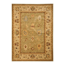 EORC - EORC C04GN5X8 5' x 8' Area Rug - Bold colors of bay-leaf green and ivory blend to give this rug its eye-catching allure. Inspired by Persian carpet designs, this handsome piece features an elaborate field of leaves and charming floral imagery. Cross-woven of sumptuous New Zealand wool.