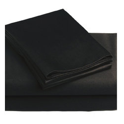 Store51 LLC - 3-Piece Black Solid Color Bedding Twin-Single Bed Sheet Set - Features:
