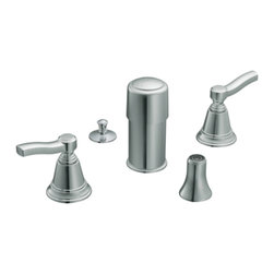 "Moen - Moen T5285 Chrome Bidet Faucet Trim Two Lever Handle 6-16"" Center, ADA - Moen T5285 is part of the Rothbury Bath collection. Moen T5285 is a new style bathroom, Bidet faucet trim. Moen T5285 has a Chrome finish. Moen T5285 two handle widespread Bidet faucet mounts in a 3-hole 6-16"" Center bidet, with metal pop-up type waste assembly included. Diverter valve includes an integral vacuum breaker. Moen T5285 two handle widespread trim fits the MPact common valve system, and requires Moen's 9200 MPact Bidet Rough-in valve to make this faucet complete. Moen T5285 is part of the Rothbury bath collection with its relaxed blend of vintage design and traditional elements this collection has both casual and luxurious decorating styles. The 9200 valve can not be used with Non Rim Flush Bidet Fixtures. Moen T5285 two lever handle provides ease of operation. Chrome is a proven finish from Moen and provides style and durability. Moen T5285 metal lever handle meets all requirements ofADA ASME A112.18/CSA B125. Water Sense Certified. Lifetime limited Warranty."