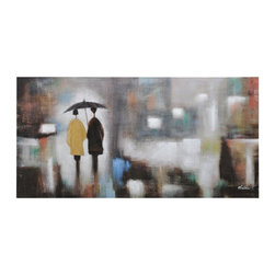 "Ren-Wil - Rainy Day Canvas Wall Art - Rainy day is a hand embellished colorful abstract featuring a couple walking during a rainy day.; Artist: Olivia Salazar; Format: Horizontal; Hanging Hardware Included; Weight: 11 lbs; Dimensions: 60""L x 30""H"