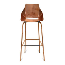 Blu Dot - Blu Dot Copper Real Good Barstool - Outfit your space in showstopping style with this clever, copper-plated piece. It starts out folded flat, then opens up along laser-cut lines to create a chic, sturdy and seriously comfortable stool. Seating doesn't get more striking than this.