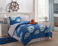 Bed In A Bag - Boys Kids Bedding - Reversible Squid Bed in a Bag - Boys Kids Bedding - Reversible Squid Bed in a Bag Multi-Color-Give your son's room a fun makeover with this reversible comforter set. It comes with an adorable stuffed squid toy for your little one to play with. The comforter features pirates and treasure on a blue background. The reverse side has blue and orange stripes. Your child will be thrilled to have this on their bed each night. Machine Washable/ 100% Polyester